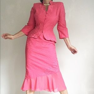Gorgeous Flamingo Pink Embroidered Skirt Suit